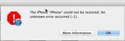 ERREUR (-1) iphone 4S